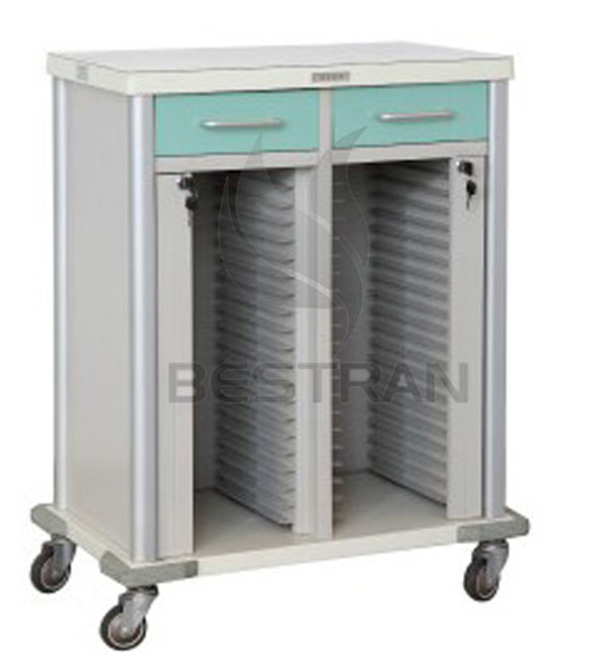 Steel patient record trolley