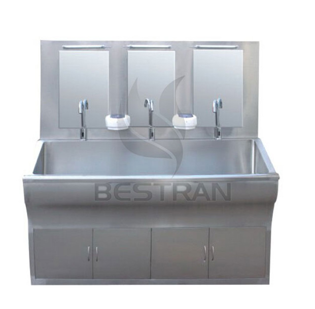 Inductive surgical scrub sink