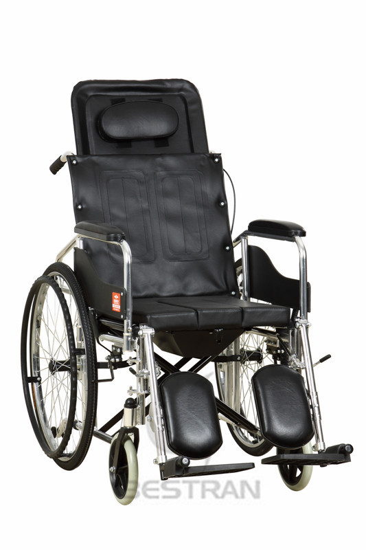 High backrest wheelchair with commode
